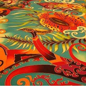 The mythic phoenix rises in this vibrant Malaysian Batik.